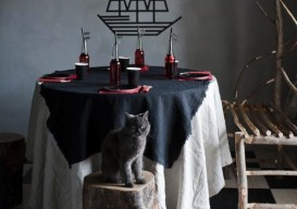 ripped linen tablecloth