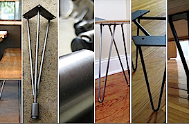 a variety of hairpin table legs to DIY