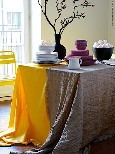 tablecloths from ikea's blog