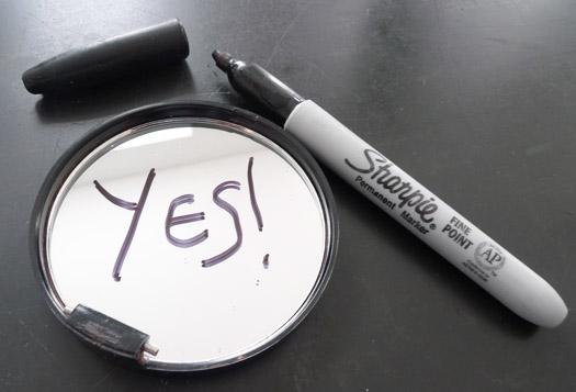 experiment: mirror as wet-erase board