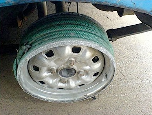 car with untraditional wheel