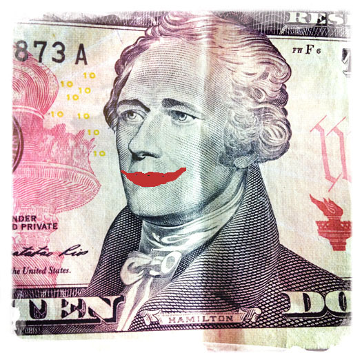 $10 bill with Alexander Hamilton smiling