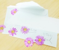 a letter with dried flowers