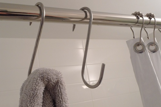 pot rack hooks use as bathroom shower hooks 'the improvised life'