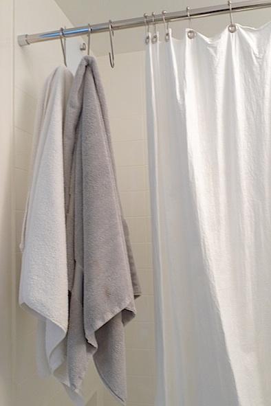 pot hooks used as bathroom towel hooks 'the improvised life'