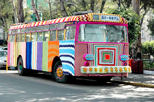 bus completely covered in crochet