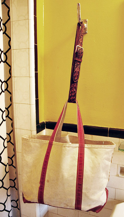 Boat Bag with an improvised leather (belt) strap