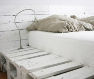 white painted d-i-y pallet bed