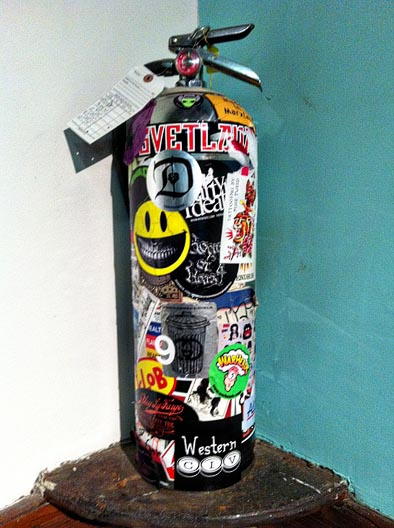 Chelsea hotel graffiti fire extinguisher