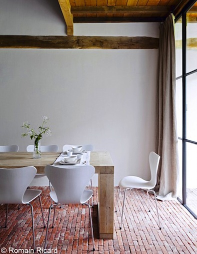 red brick floors in a restored farmhouse