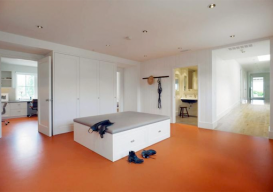 ever wonder what an orange linoleum floor would look like?
