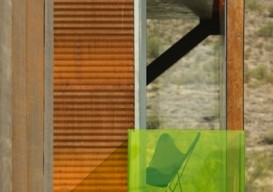 rusted corrugated metal siding for a modern house