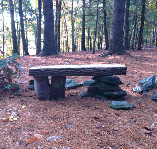 makeshift bench at Omega Institute