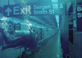 A Photoshopped image of a scuba diver in a flooded subway station in Brooklyn after Hurricane Sandy