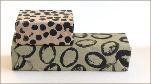 Potato Stamp Gift Wrap spots