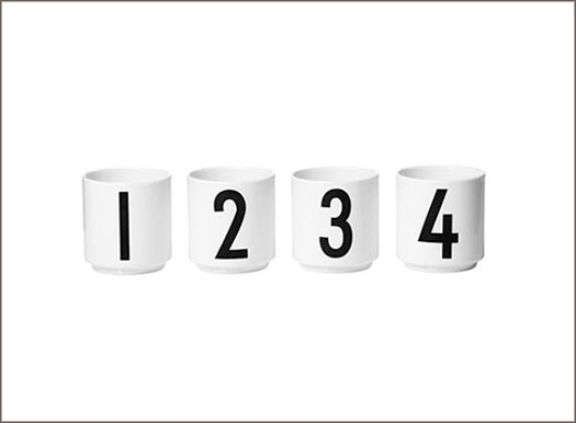 Arne Jacobsen espresso cups numbered 1 through 4