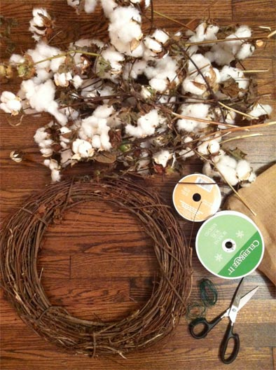 DIY holiday wreath made from cotton
