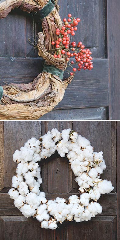 diy holiday wreaths made from tobacco leaves and cotton