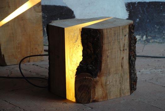 Italian designer Marco Stefanneli's log lamps