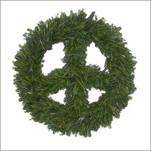 a holiday wreath in the shape of a peace sign