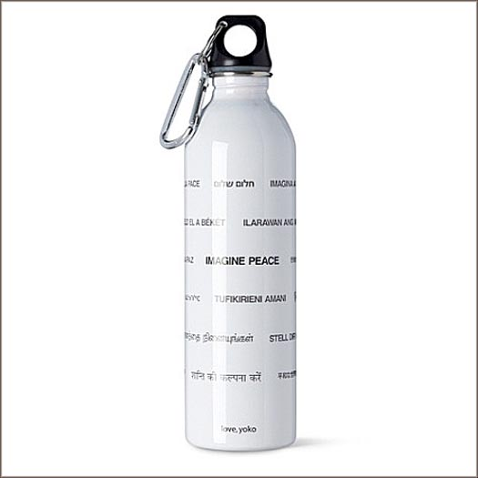 Stainless steel Imagine Peace water bottle with artwork by Yoko Ono