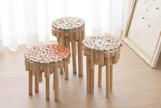 chopped dowel tables by designer yuval tal