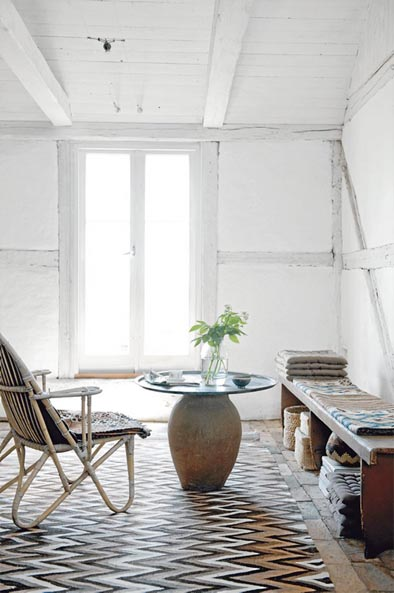 What we think is stenciled cork at a renovated farmhouse in Skåne in the South of Sweden.
