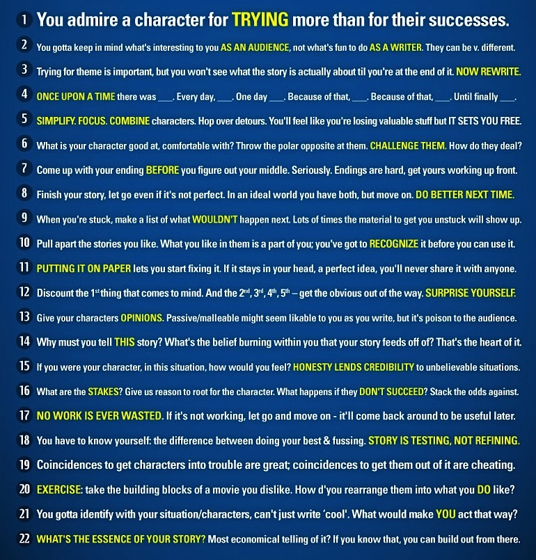 Pixar's rules for story telling.