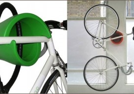bicycle mounted vertically in wall