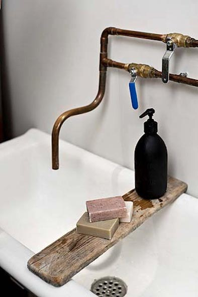 faucets made from black and copper piping