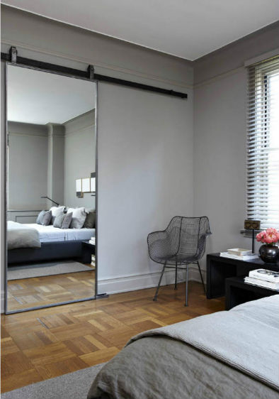 a sliding mirror door is a chic design solution