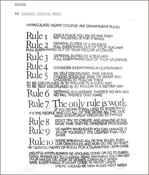 Rules Sister Corita Kent