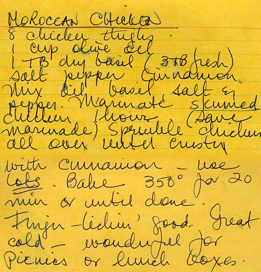 handwritten moroccan chicken recipe