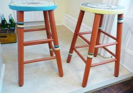 Julie Houston's bar stools after painting