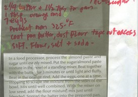 handwritten almond pound cake recipe
