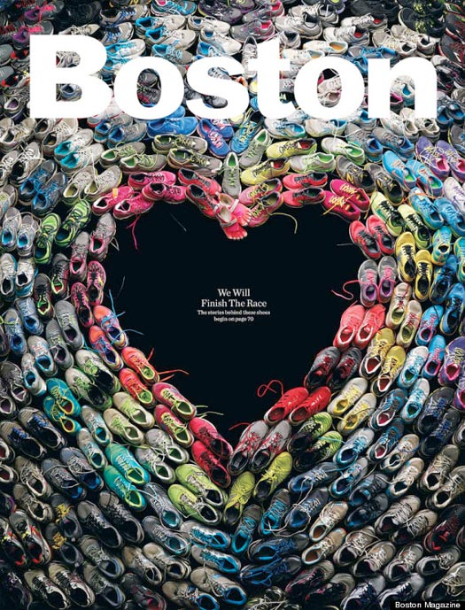 The cover of the May 2013 issue of Boston Magazine shows battered shoes in the shape of a heart