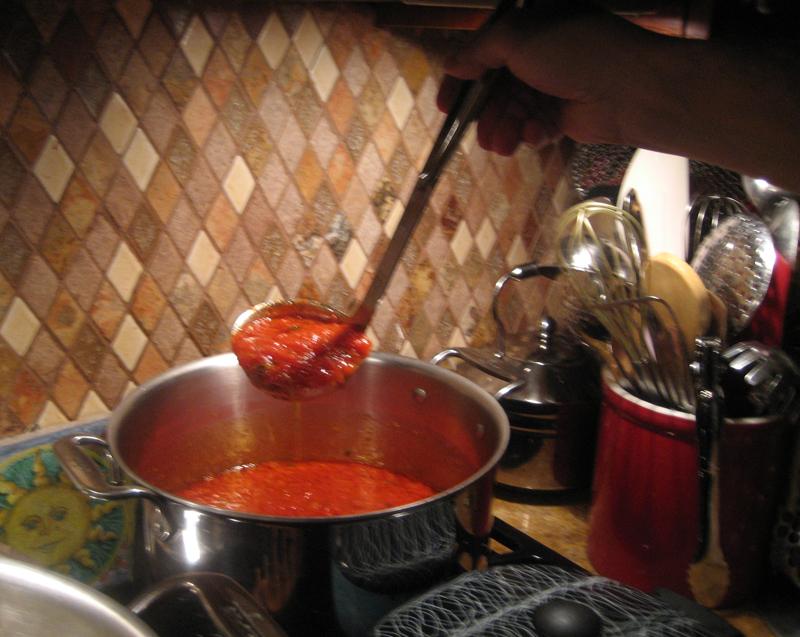 Lucia's tomato sauce prep