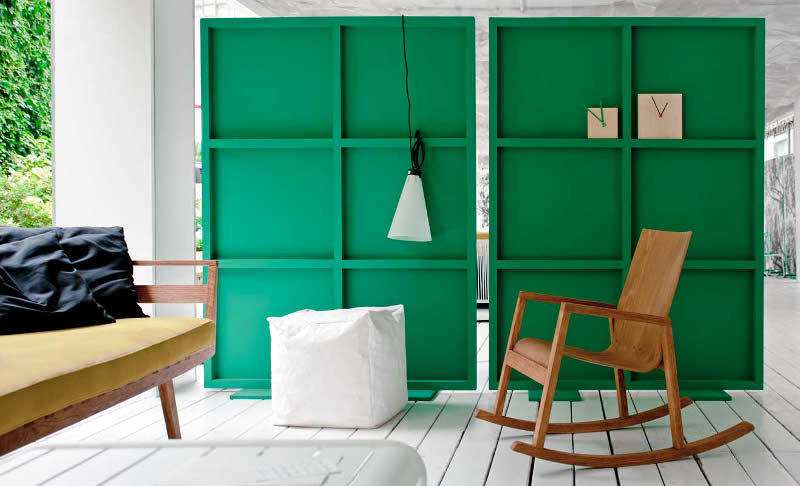 green wood room divider 1