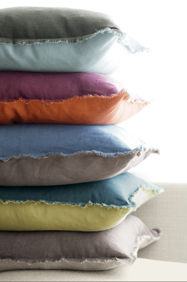 linen frayed edge pillow 1