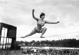 tightrope walker vintage photo