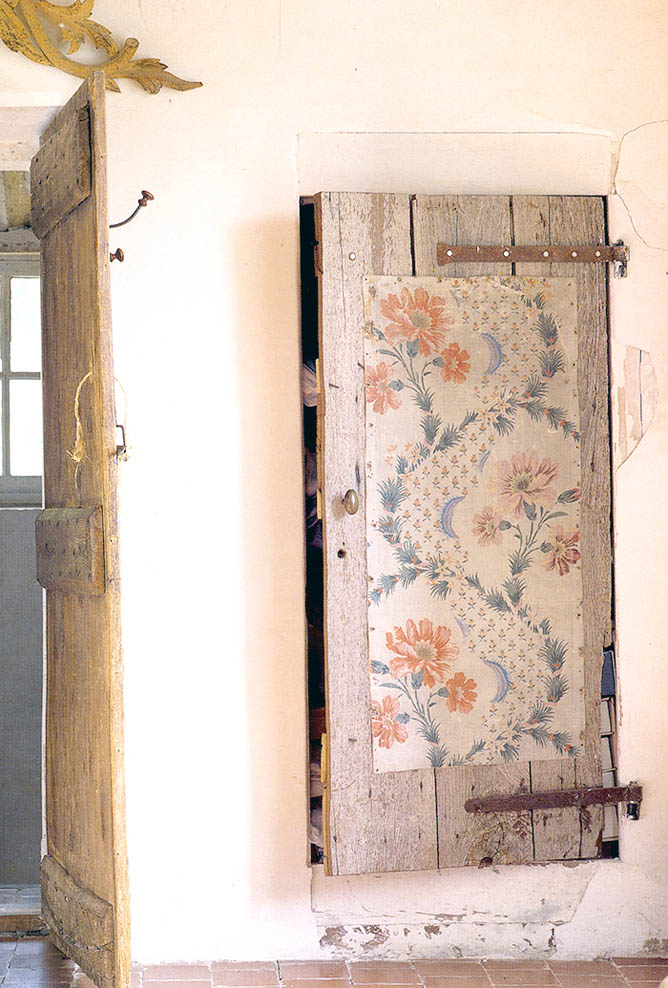 Anna Bonde keeps a box of salvaged textiles in her home in Provence