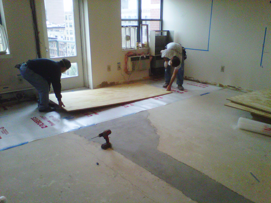 plywood floors placing first sheet