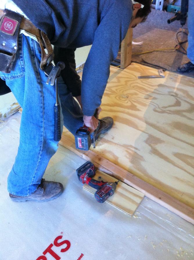 plywood floors screwing down