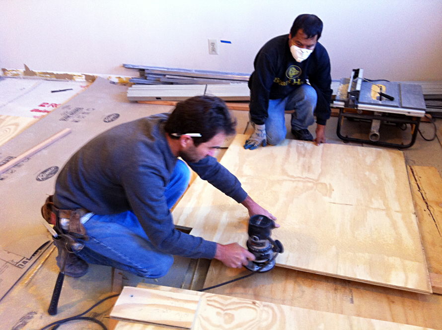 plywood floors tongue and groove sanding