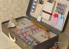 old suitcase as custom storage