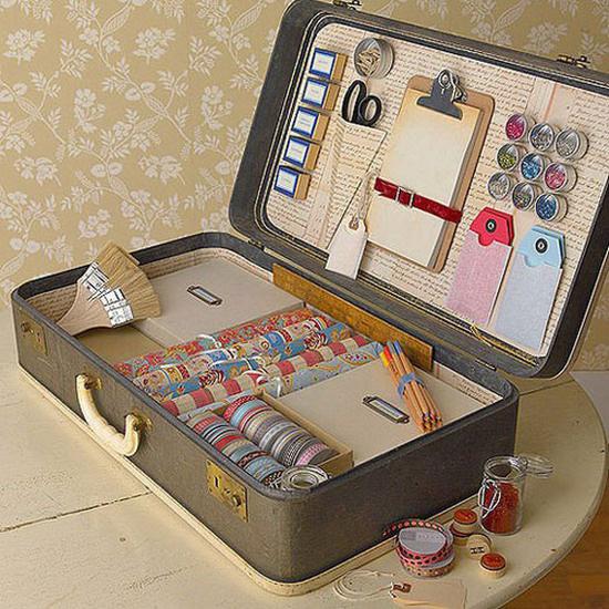 old suitcase as custom storage