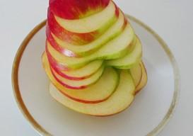 side sliced apple stack