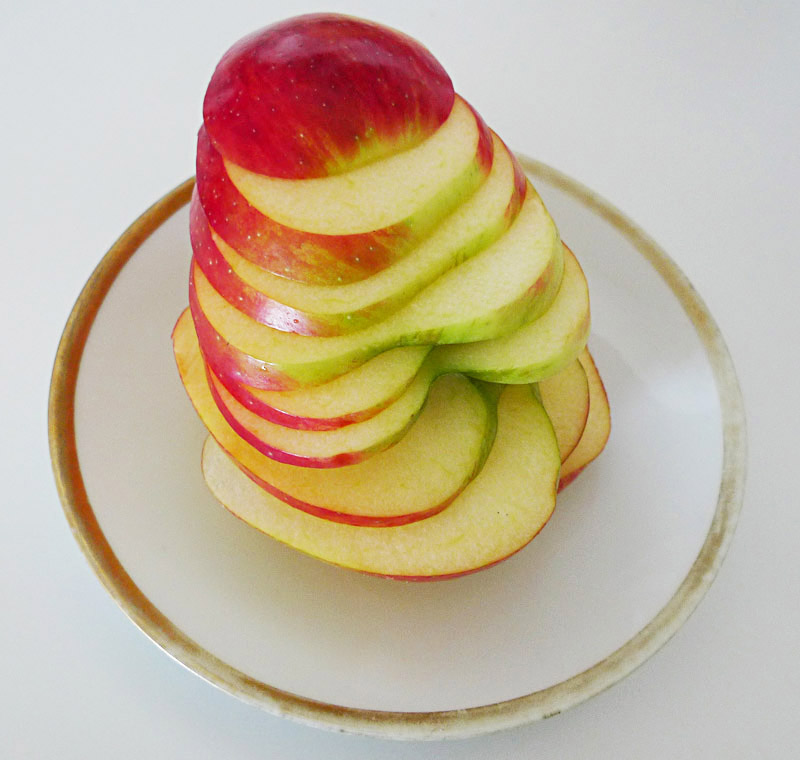 side sliced apple stack