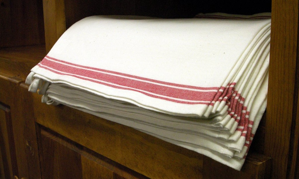red striped French napkin dish towel