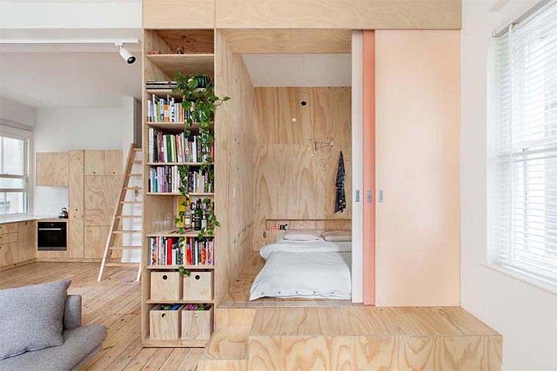 plywood cube with sliding doors via desire to inspire